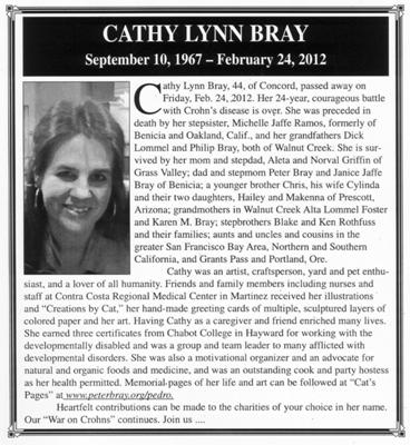 Cathy Lynn Bray, battled Crohns for 24 years...