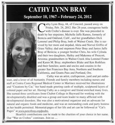 Cathy Lynn Bray, battled Crohns for 24 years...